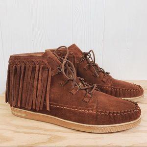 Zodiac Vera Leather Fringe Sneaker Boho Festival